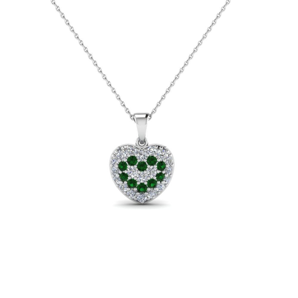Pave diamond heart pendant necklace for women with emerald in 14k pave diamond heart pendant necklace for women with emerald in 14k white gold fdhpd249wdgemgr nl wg aloadofball