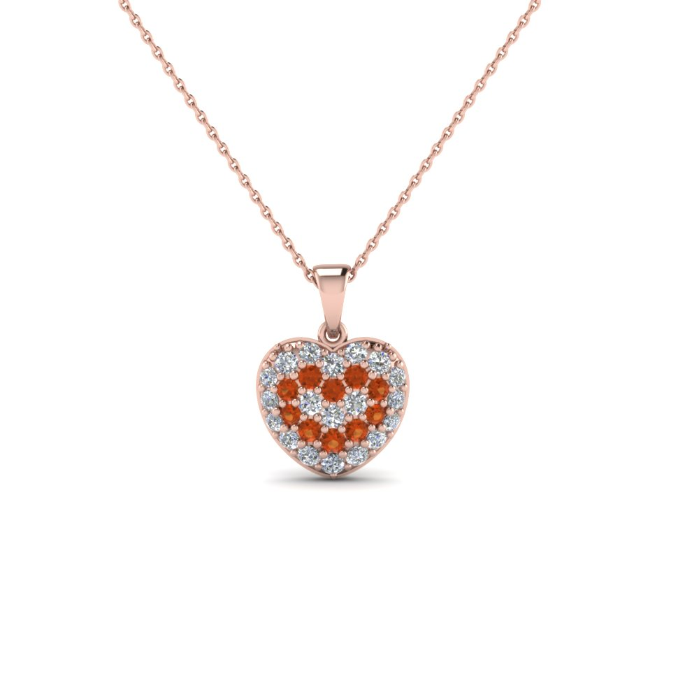 pave diamond heart pendant necklace for women with orange sapphire in 14K rose gold FDHPD249WDGSAOR NL RG