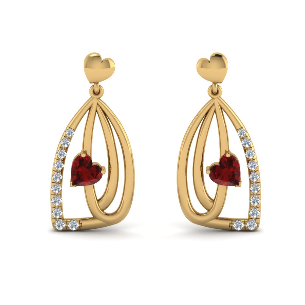 Pave Heart Drop Earring