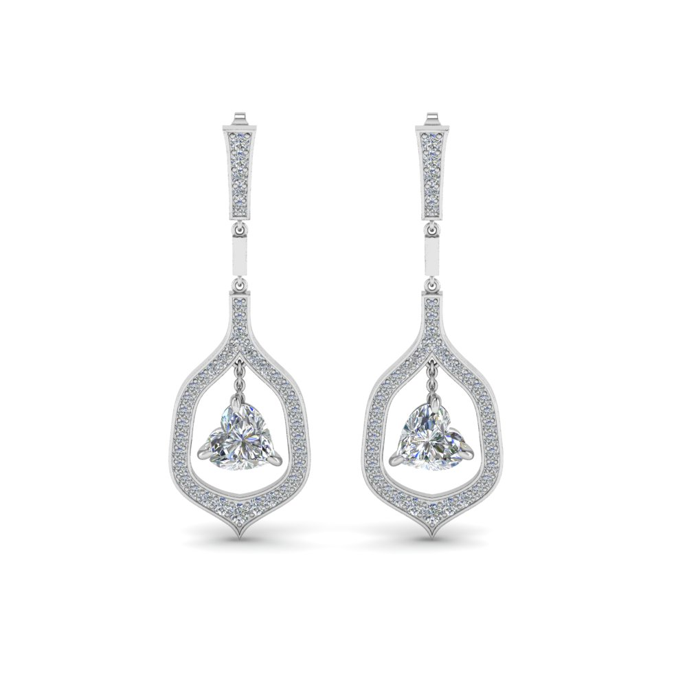 Pave Diamond Heart Shaped Drop Earring In Fdear8441htangle1 Nl Wg