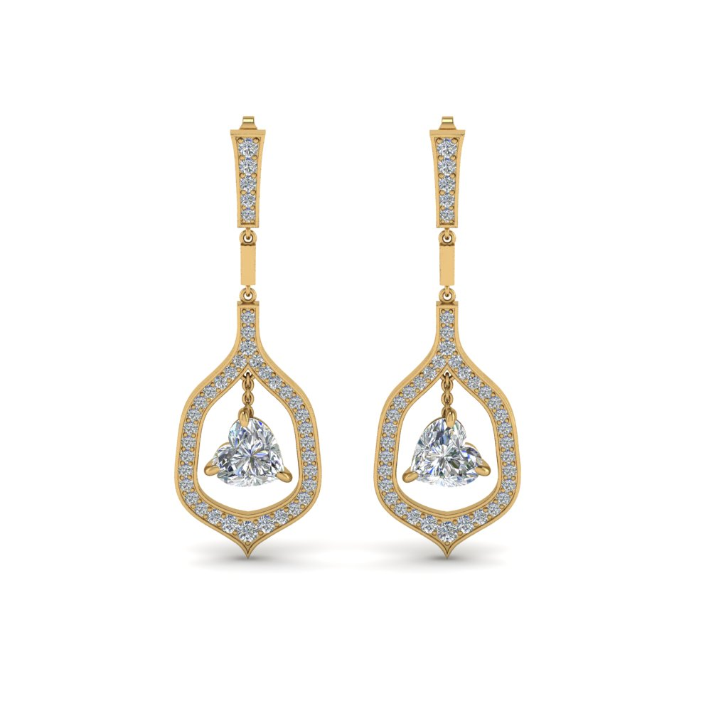 pave diamond heart shaped drop earring in FDEAR8441HTANGLE1 NL YG