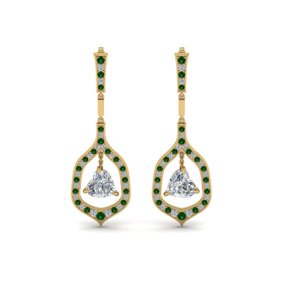 Pave Diamond Heart Shaped Drop Earring With Emerald In Fdear8441htgemgrangle1 Nl Yg