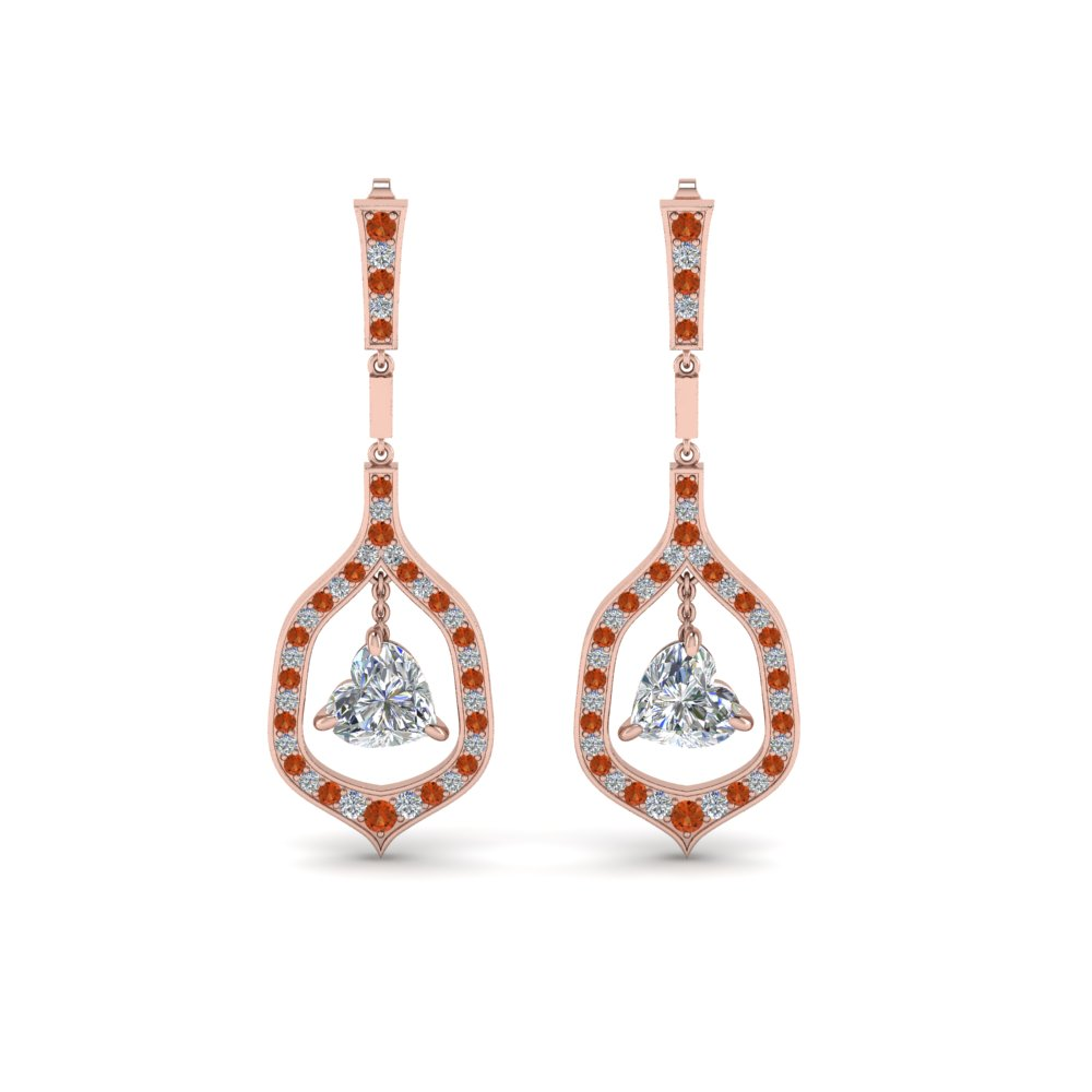 pave diamond heart shaped drop earring with orange sapphire in FDEAR8441HTGSAORANGLE1 NL RG