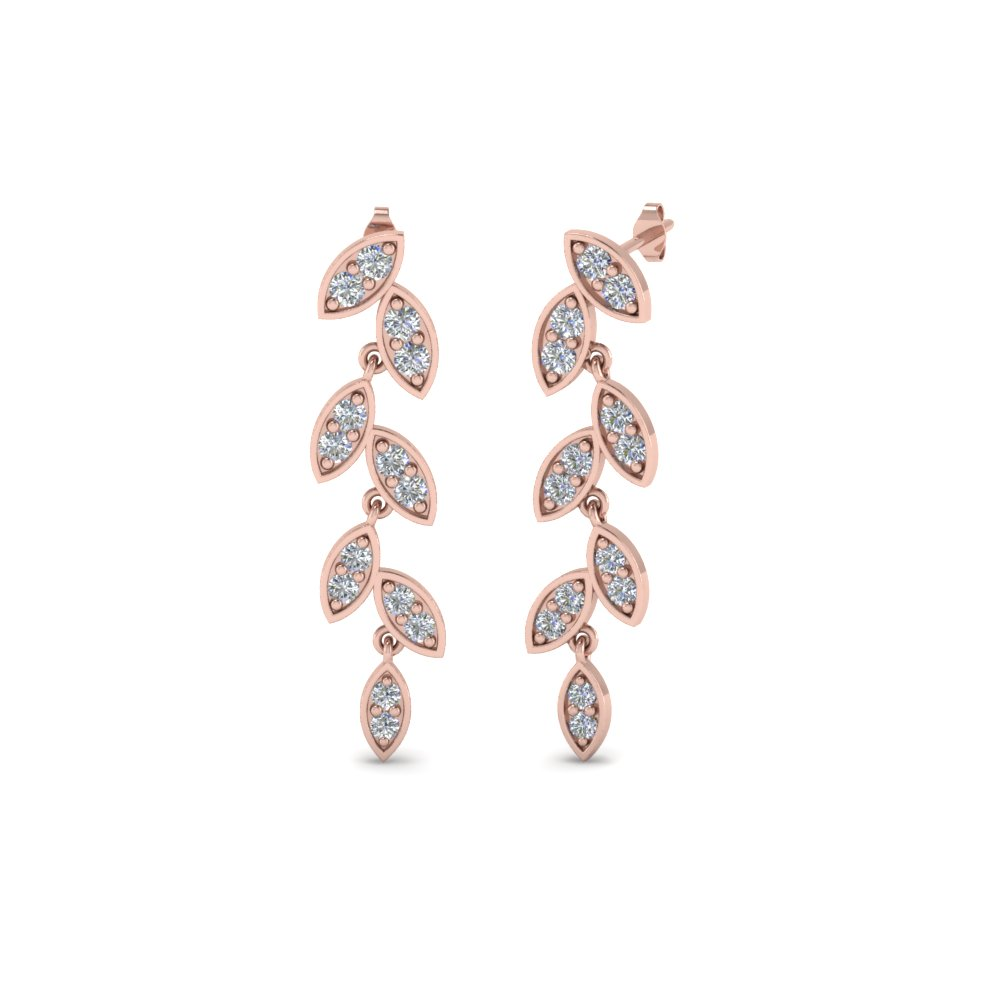 Leaf Pattern Diamond Dangle Earrings