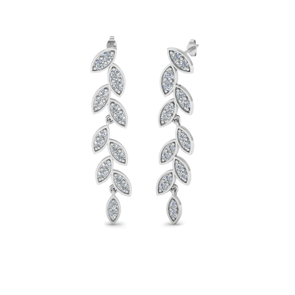 Leaf Drop Pave Diamond Earring