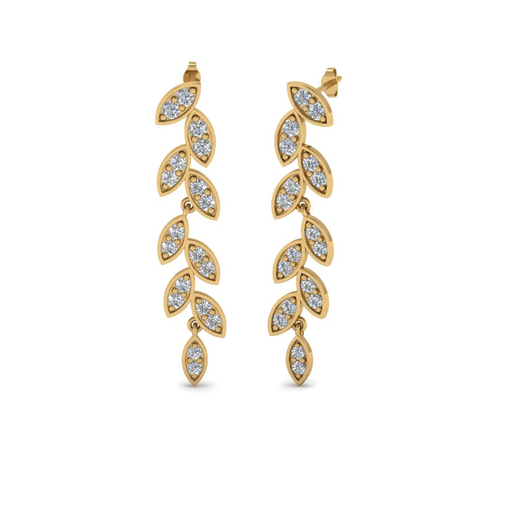 pave diamond leaf drop earring in 14K yellow gold FDEAR8334 NL YG