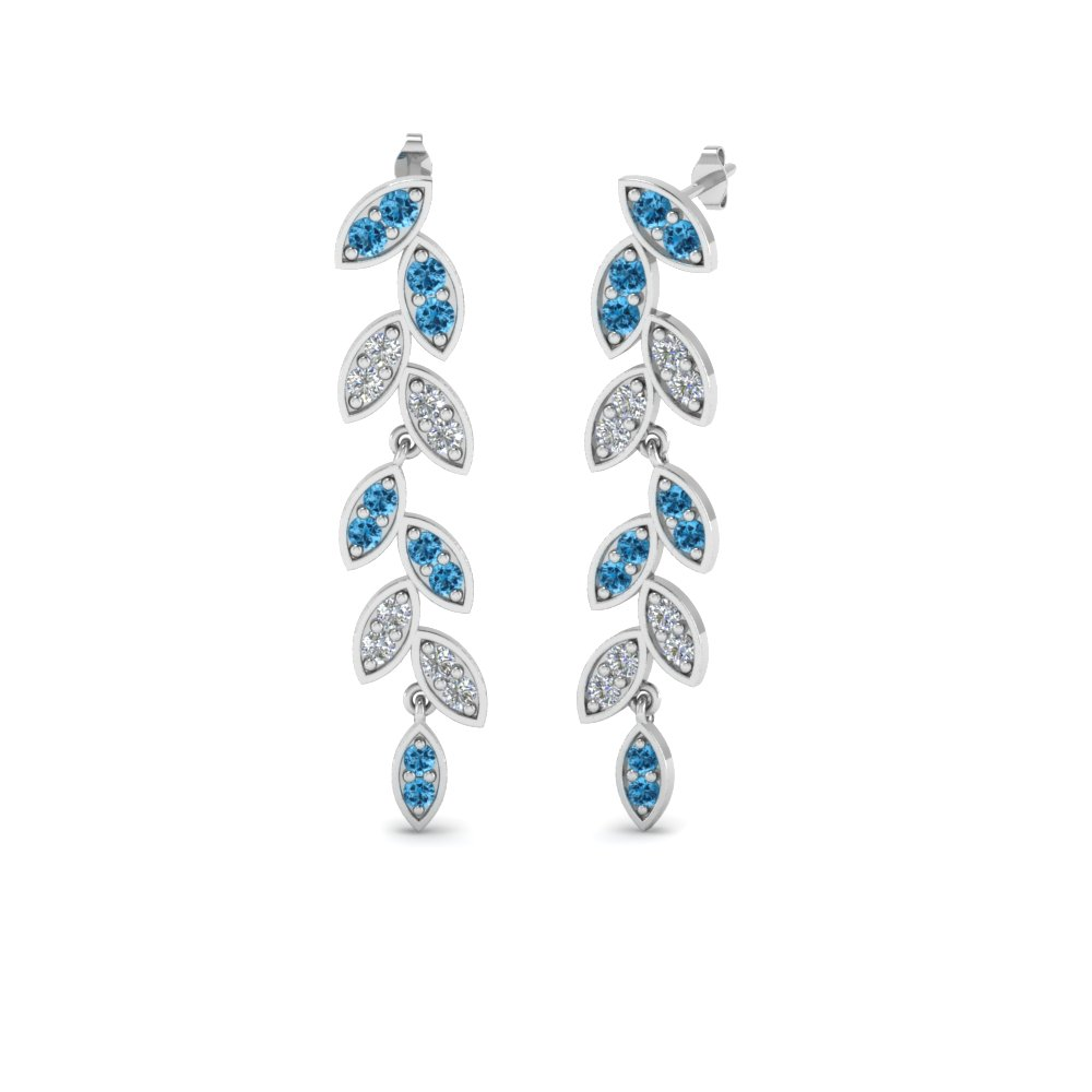 pave diamond leaf drop earring with blue topaz in 950 Platinum FDEAR8334GICBLTO NL WG