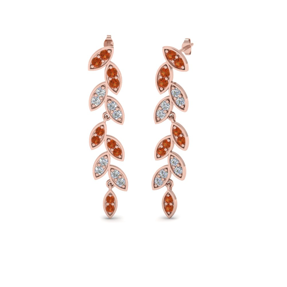 pave diamond leaf drop earring with orange sapphire in 14K rose gold FDEAR8334GSAOR NL RG