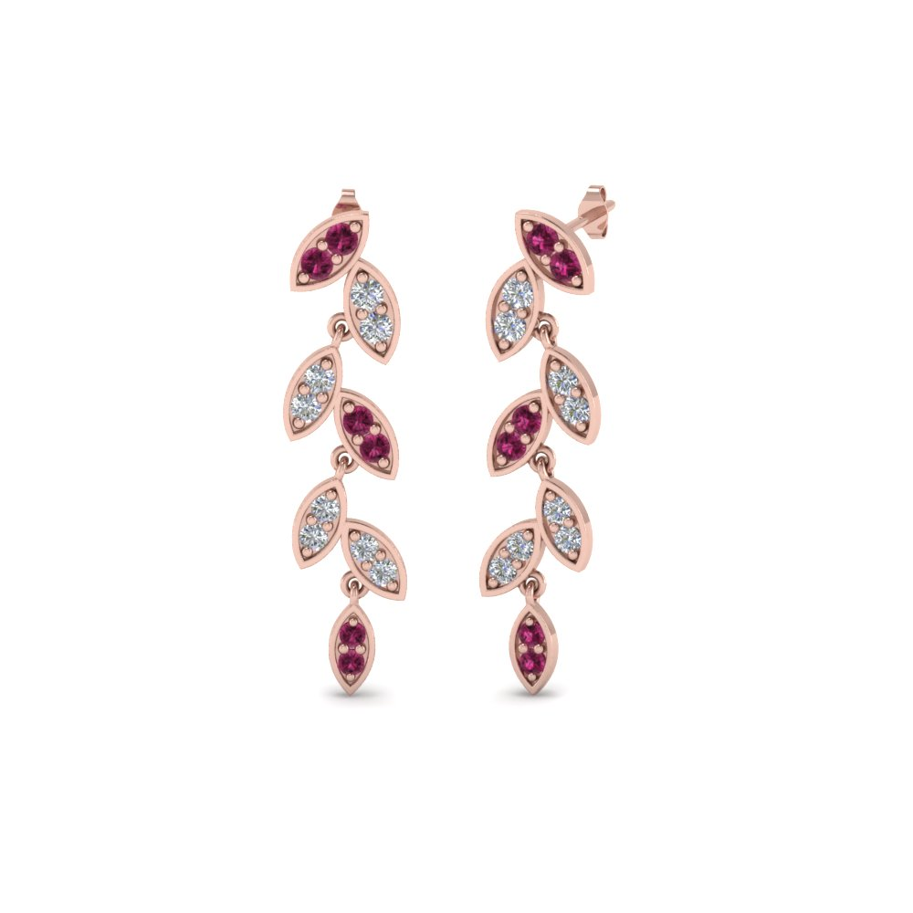 Pink Gold Sapphire Drop Earrings For Her