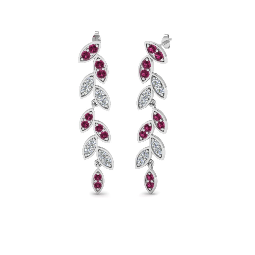 Pave Pink Sapphire Leaf Earring