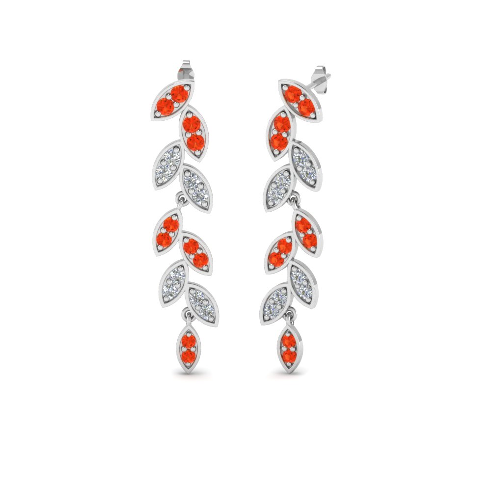 pave diamond leaf drop earring with orange topaz in 14K white gold FDEAR8334GPOTO NL WG