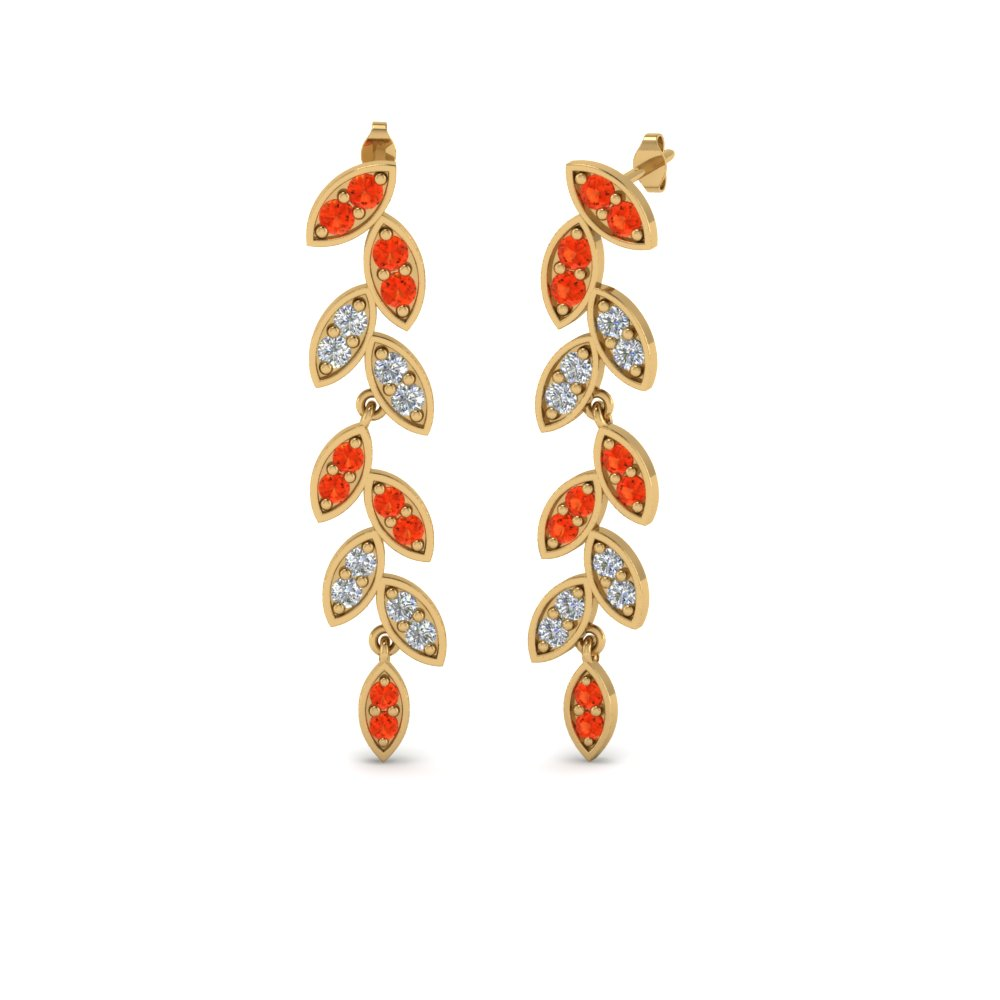 Gold Leaf Orange Topaz Earring
