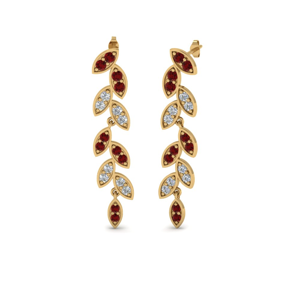 pave diamond leaf drop earring with ruby in 14K yellow gold FDEAR8334GRUDR NL YG