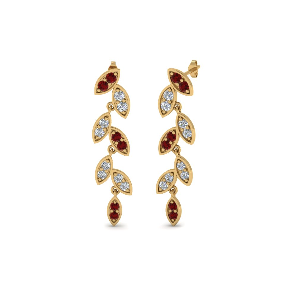 Pave Diamond Leaf Drop Earring With Ruby In 14K Yellow Gold