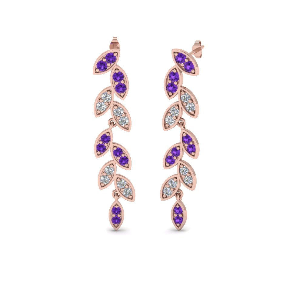 pave diamond leaf drop earring with purple topaz in 14K rose gold FDEAR8334GVITO NL RG