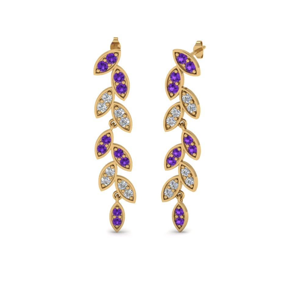Pave Purple Topaz Leaf Drop Earring