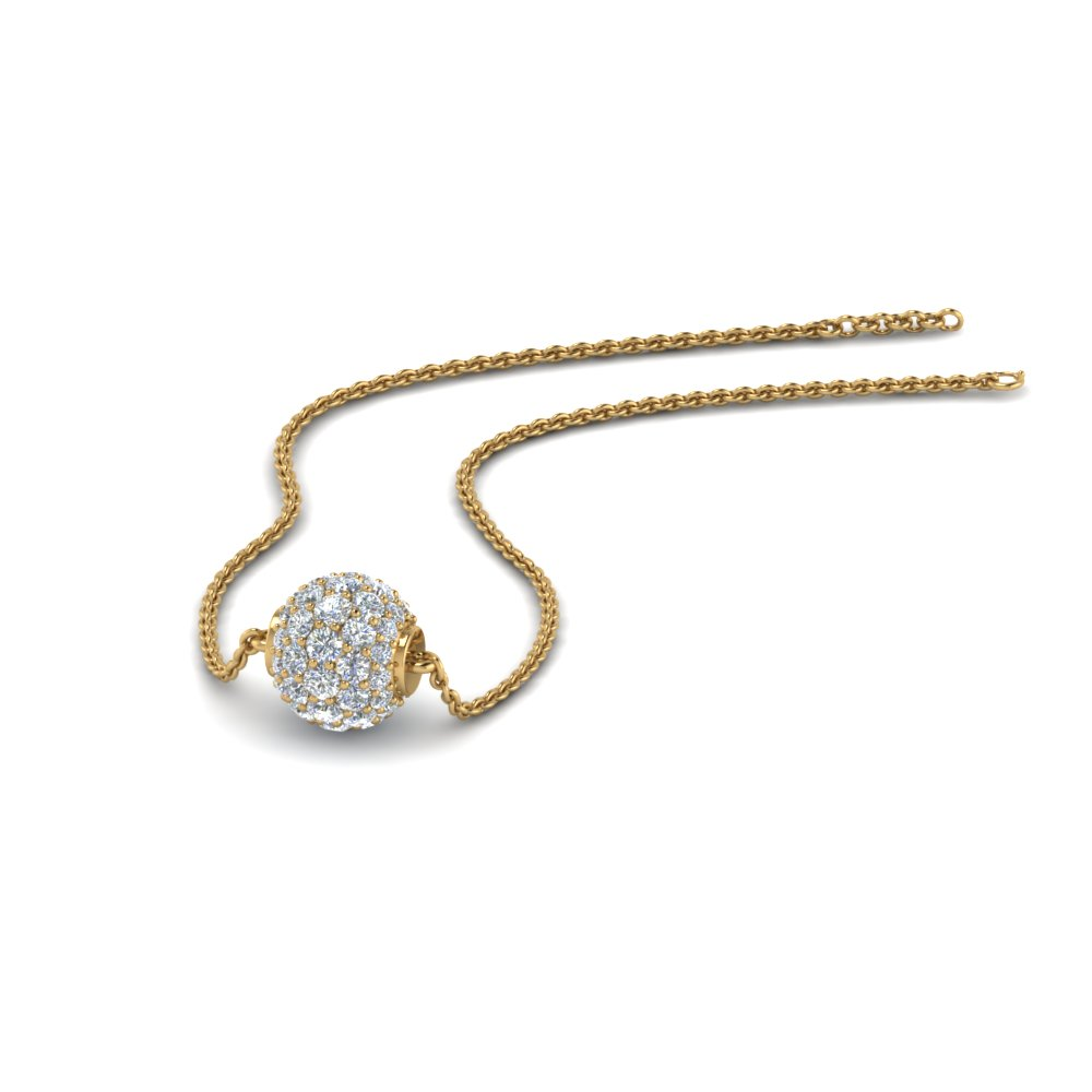 0.50 ct. pave diamond sphere pendant in 14K yellow gold FDPD8433 NL YG