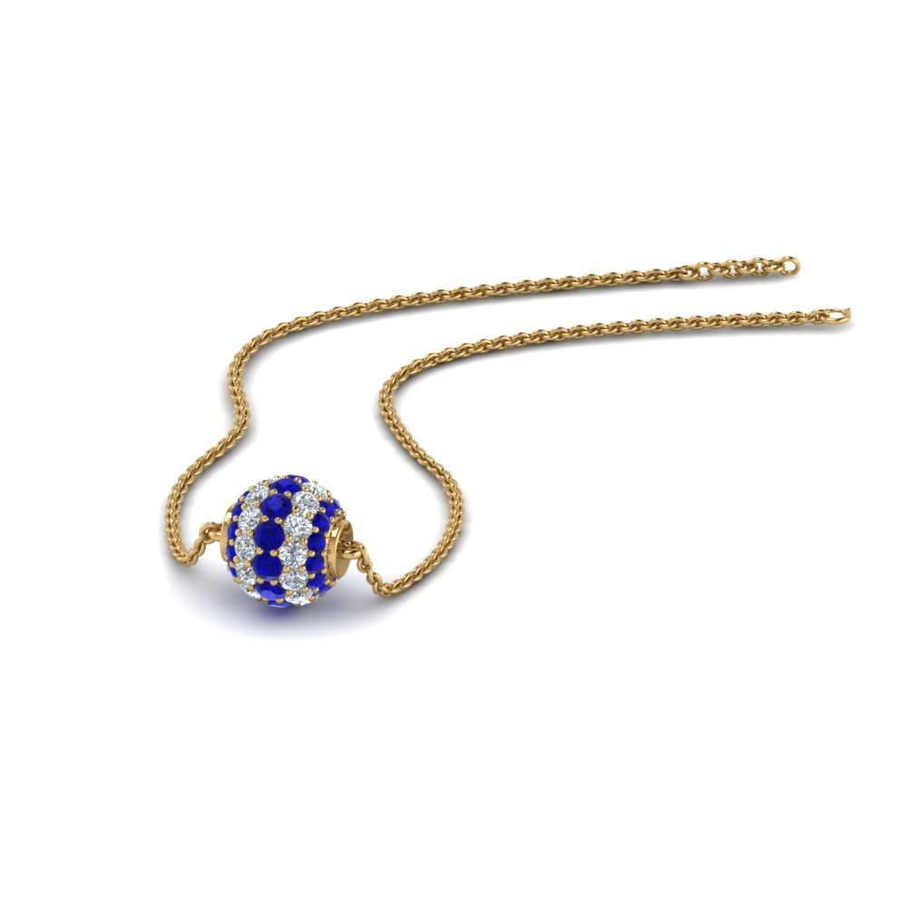 0.50 ct. pave diamond sphere pendant with blue sapphire in 14K yellow gold FDPD8433GSABL NL YG