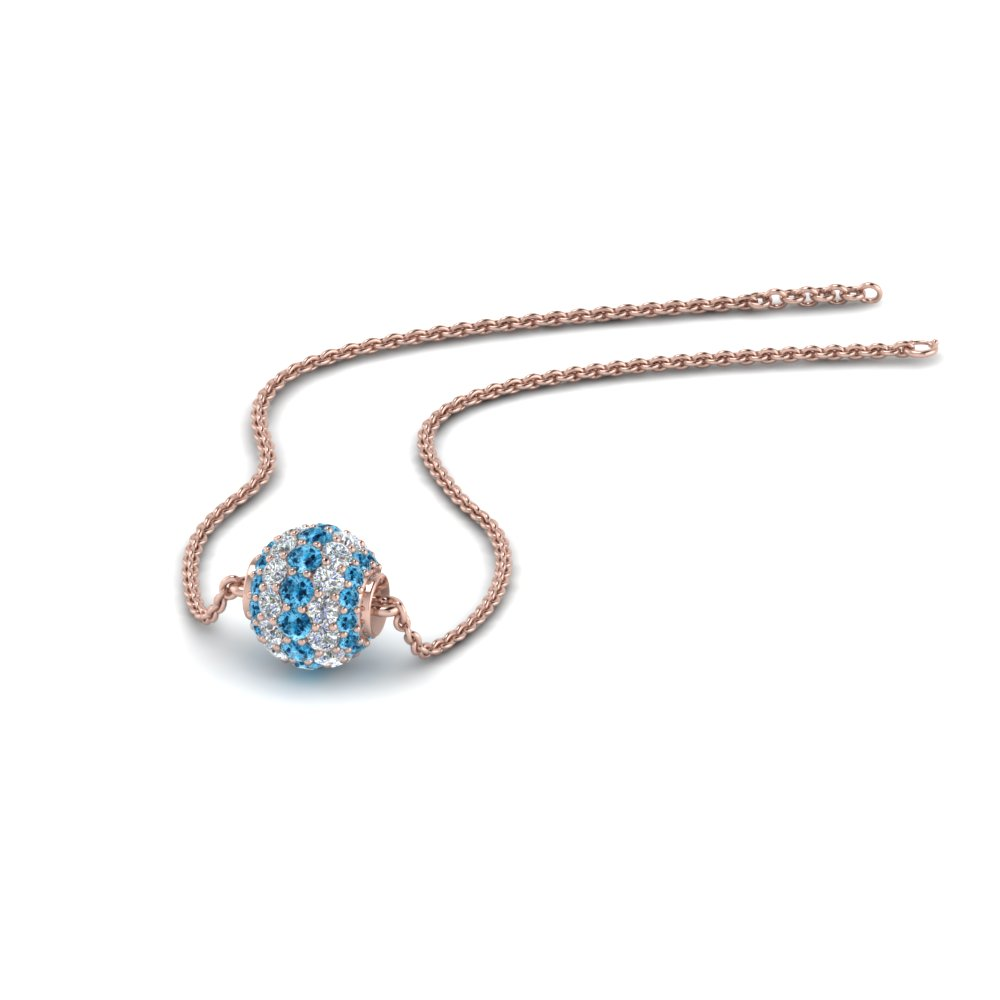 0.50 ct. pave diamond sphere pendant with blue topaz in FDPD8433GICBLTO NL RG