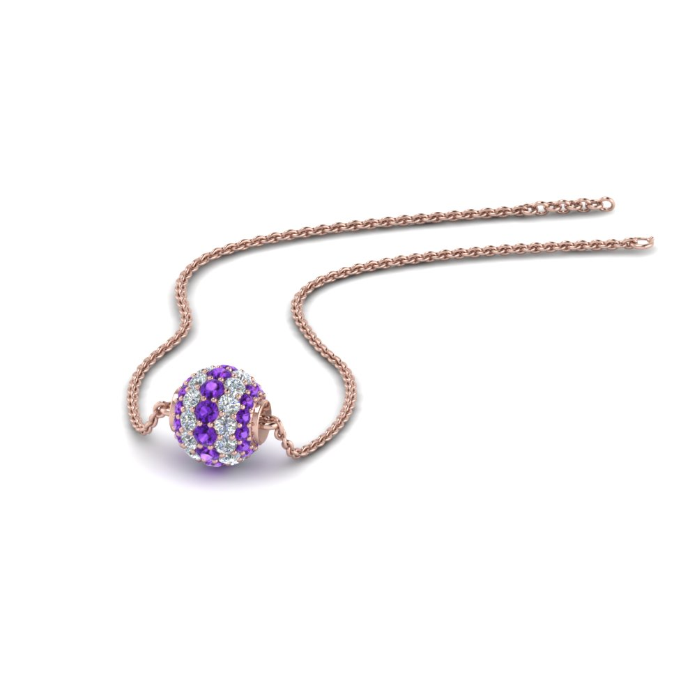 Purple Topaz Pave Ball Pendant