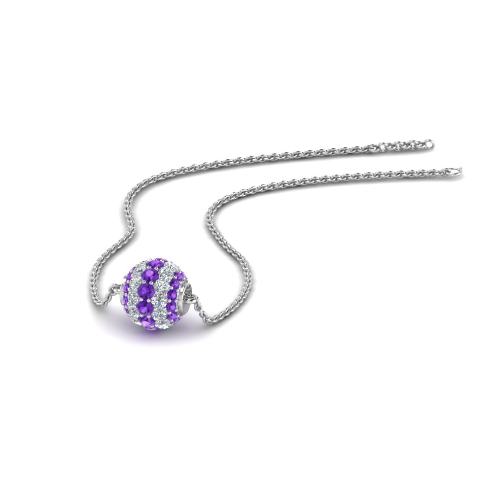 0.50 ct. pave diamond sphere pendant with violet topaz in FDPD8433GVITO NL WG