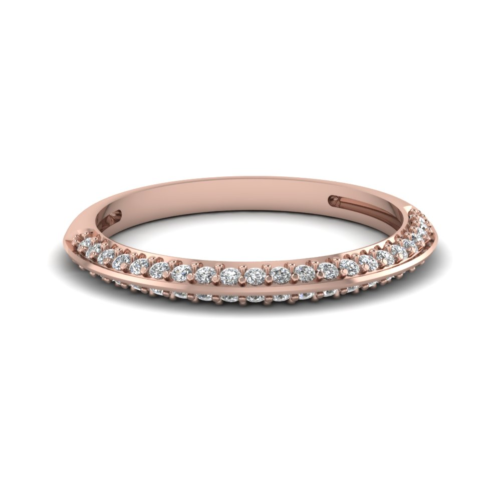 pave diamond wedding anniversary women band in 14K rose gold FDENS3049B NL RG 30