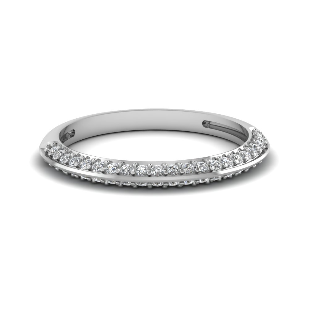 pave diamond wedding anniversary women band in 14K white gold FDENS3049B NL WG 30