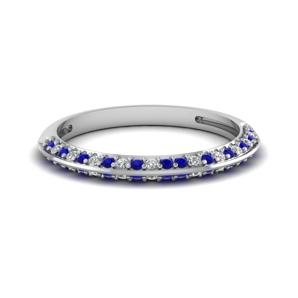 pave diamond wedding anniversary women band with blue sapphire in 14K white gold FDENS3049BGSABL NL WG 30