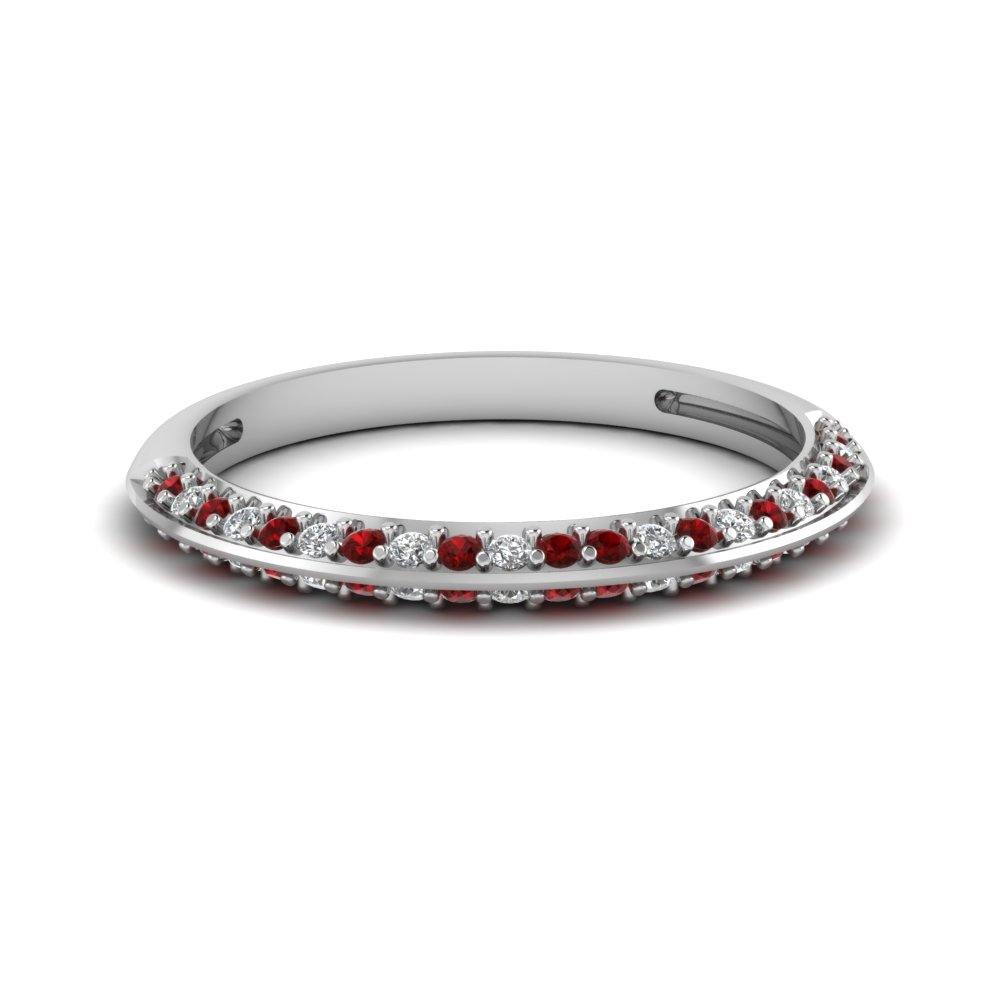 pave diamond wedding anniversary women band with ruby in 18K white gold FDENS3049BGRUDR NL WG 30