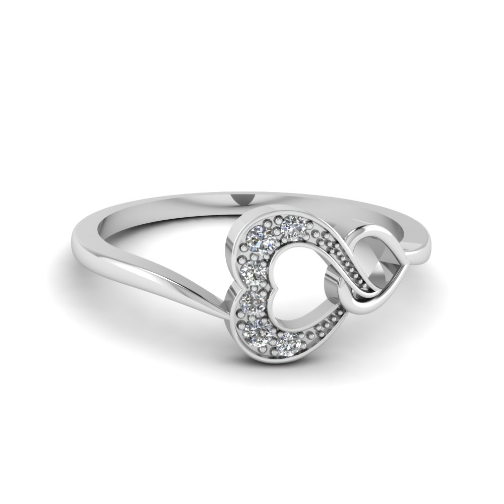 pave double heart white diamond promise ring in sterling silver FD68833 NL WG