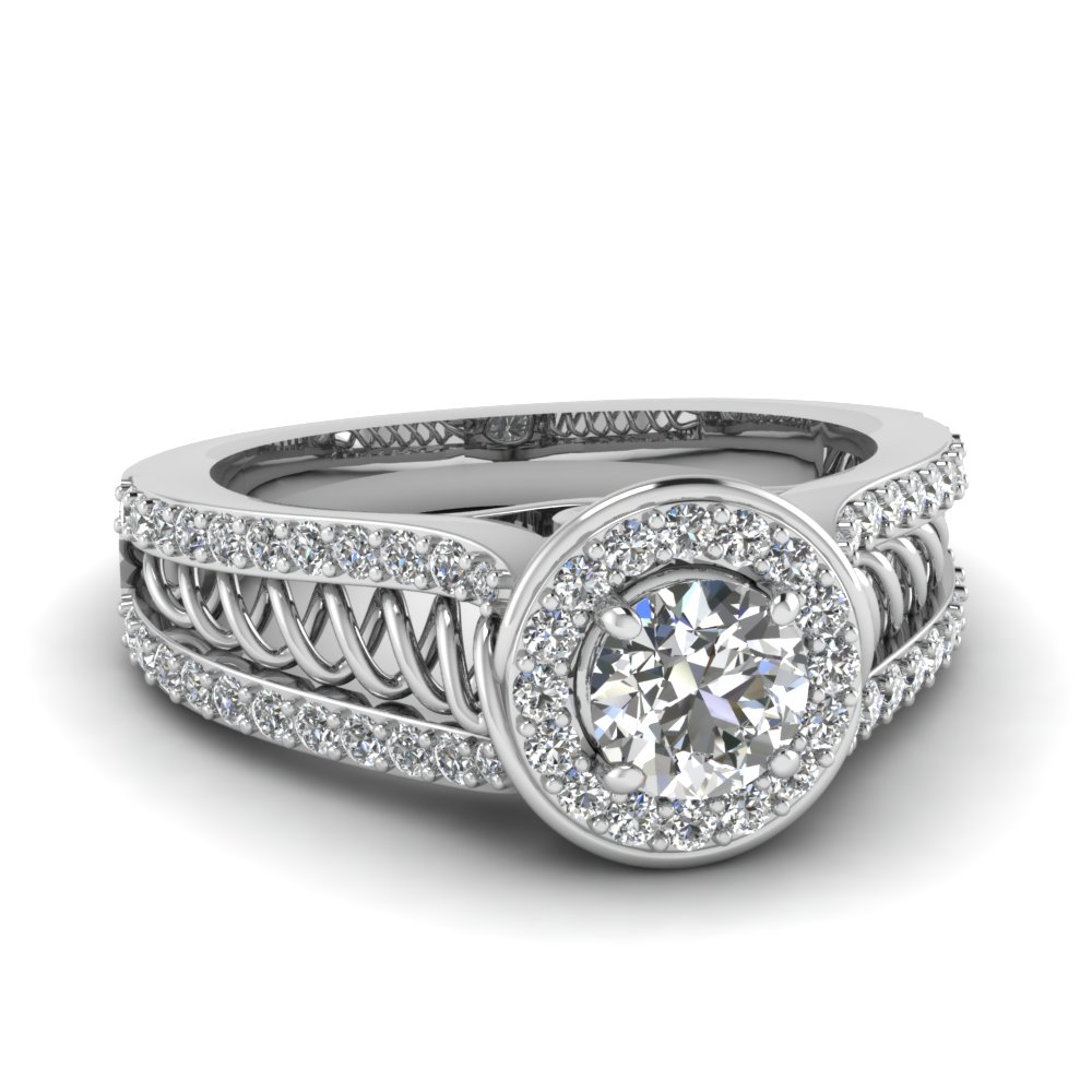 Womens Pave Halo Diamond Ring