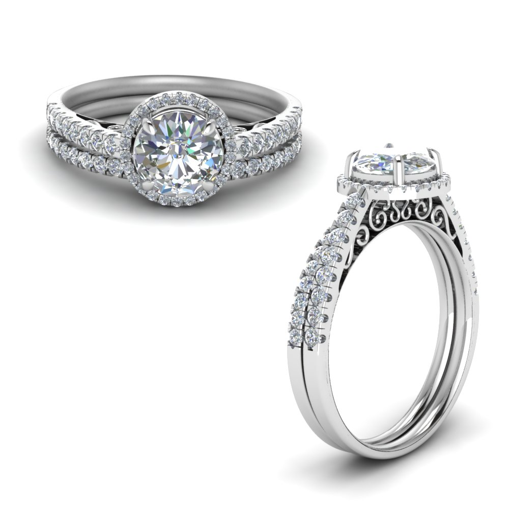 pave halo moissanite vintage bridal set in FD8592ROANGLE1 NL WG