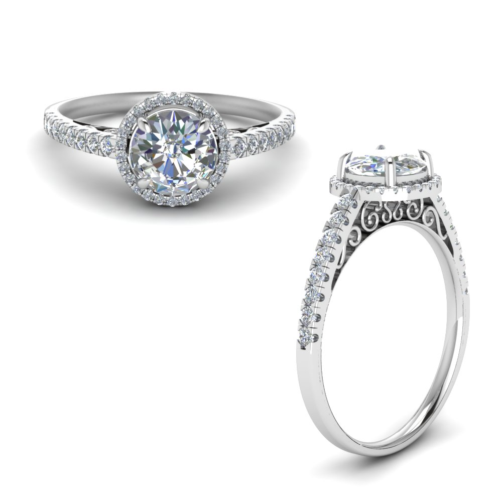 Pave Halo Vintage Engagement Ring