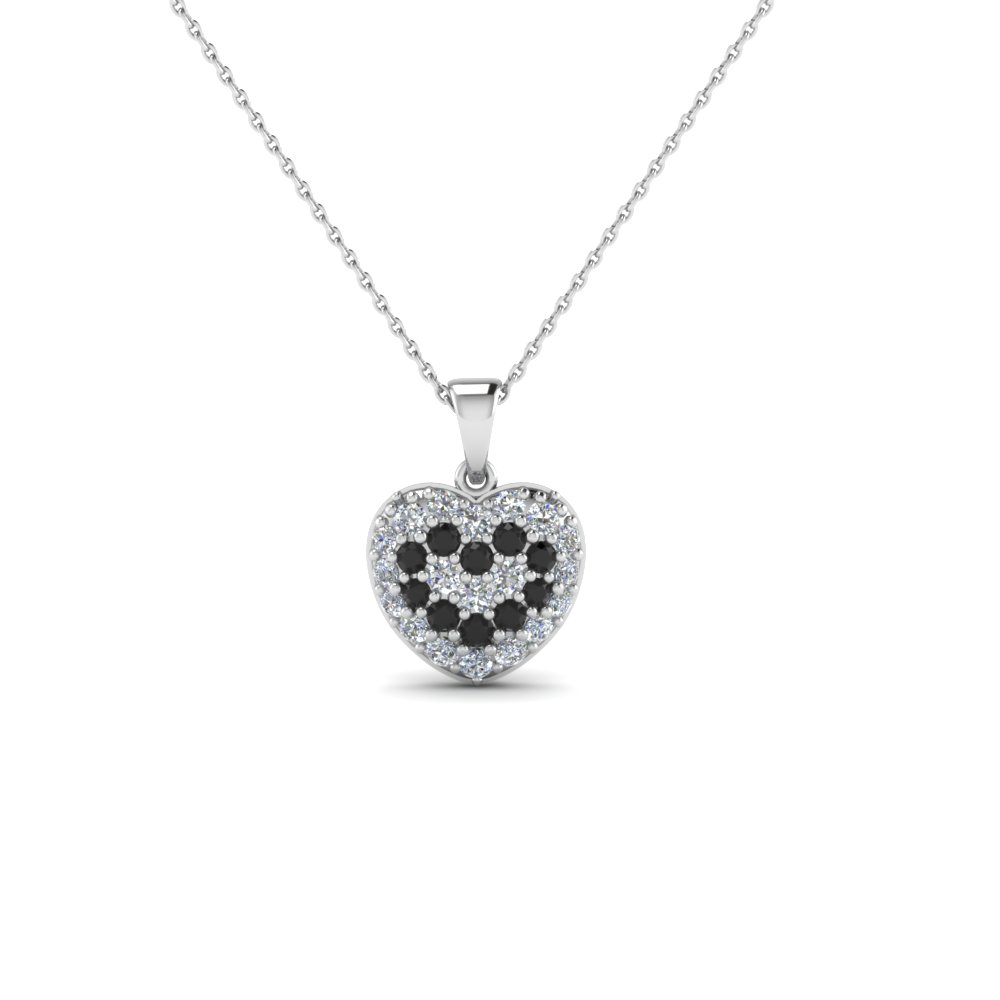 Pave heart pendant necklace for women with black diamond in 14k pave heart pendant necklace for women with black diamond in 14k white gold fdhpd249wdgblack nl wg mozeypictures Images