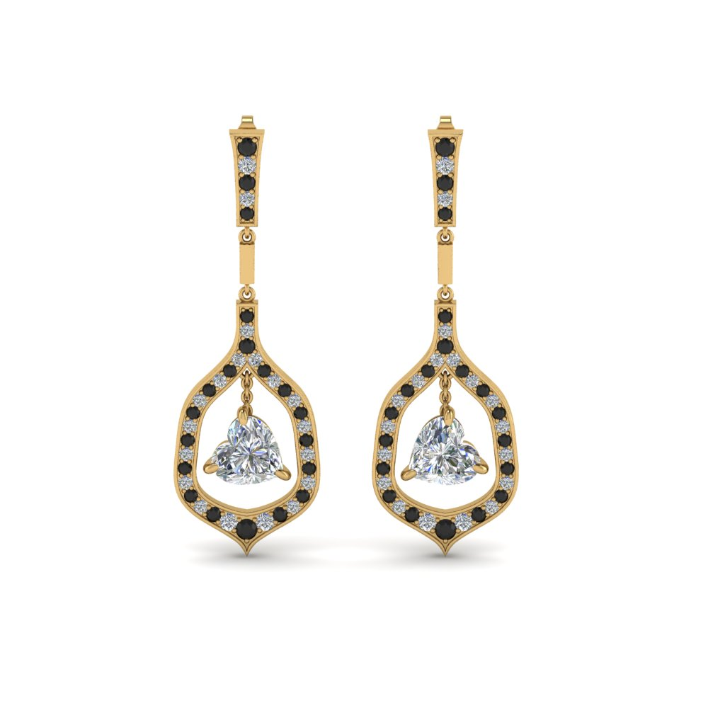 bdcceb3ac60e8 Pave Heart Shaped Drop Earring With Black Diamond In 18K Yellow Gold