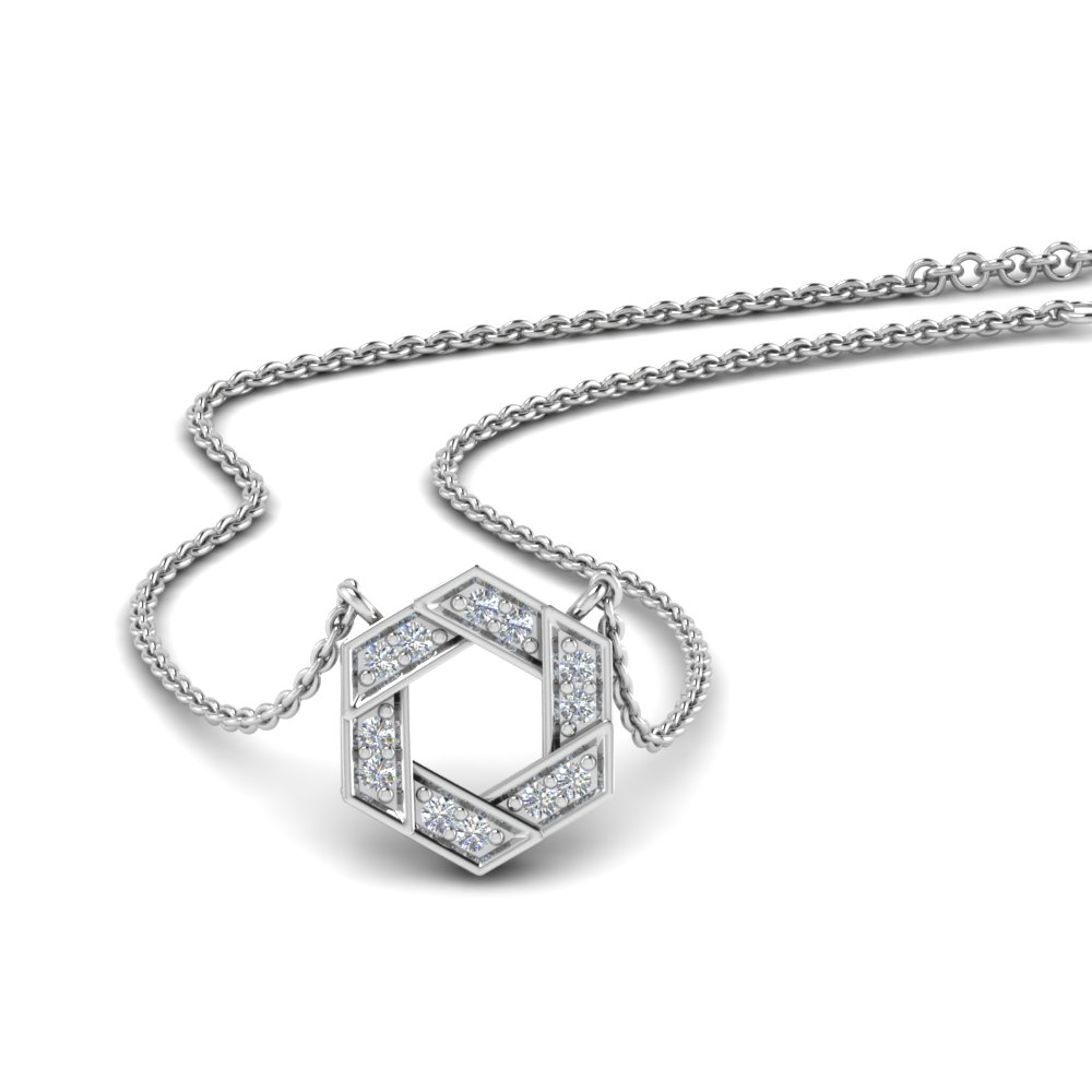 pave hexagon diamond pendant in FDPD653500 NL WG