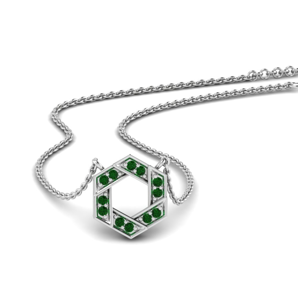 Pave Hexagon Emerald Pendant
