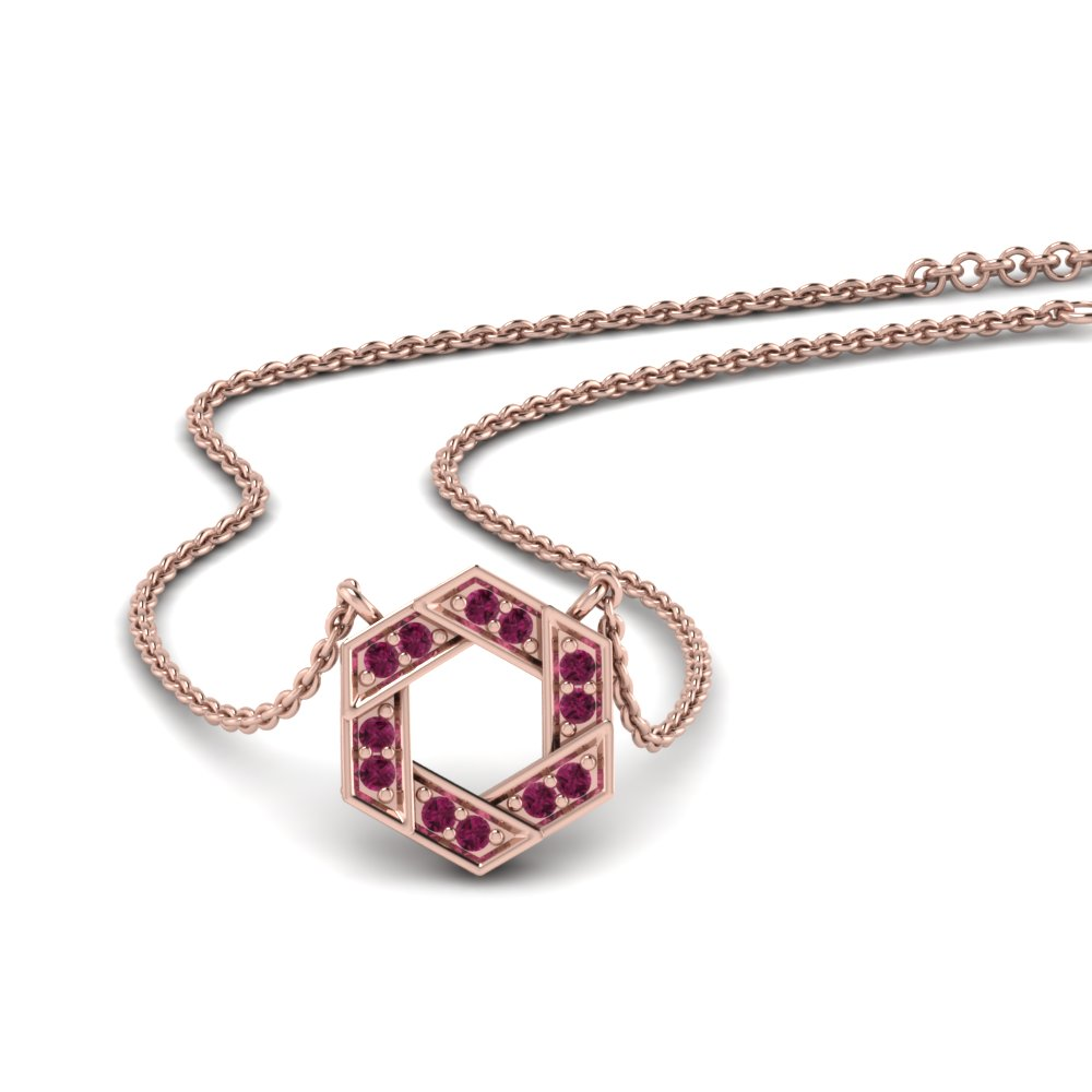 Pave Hexagon Ruby Pendant