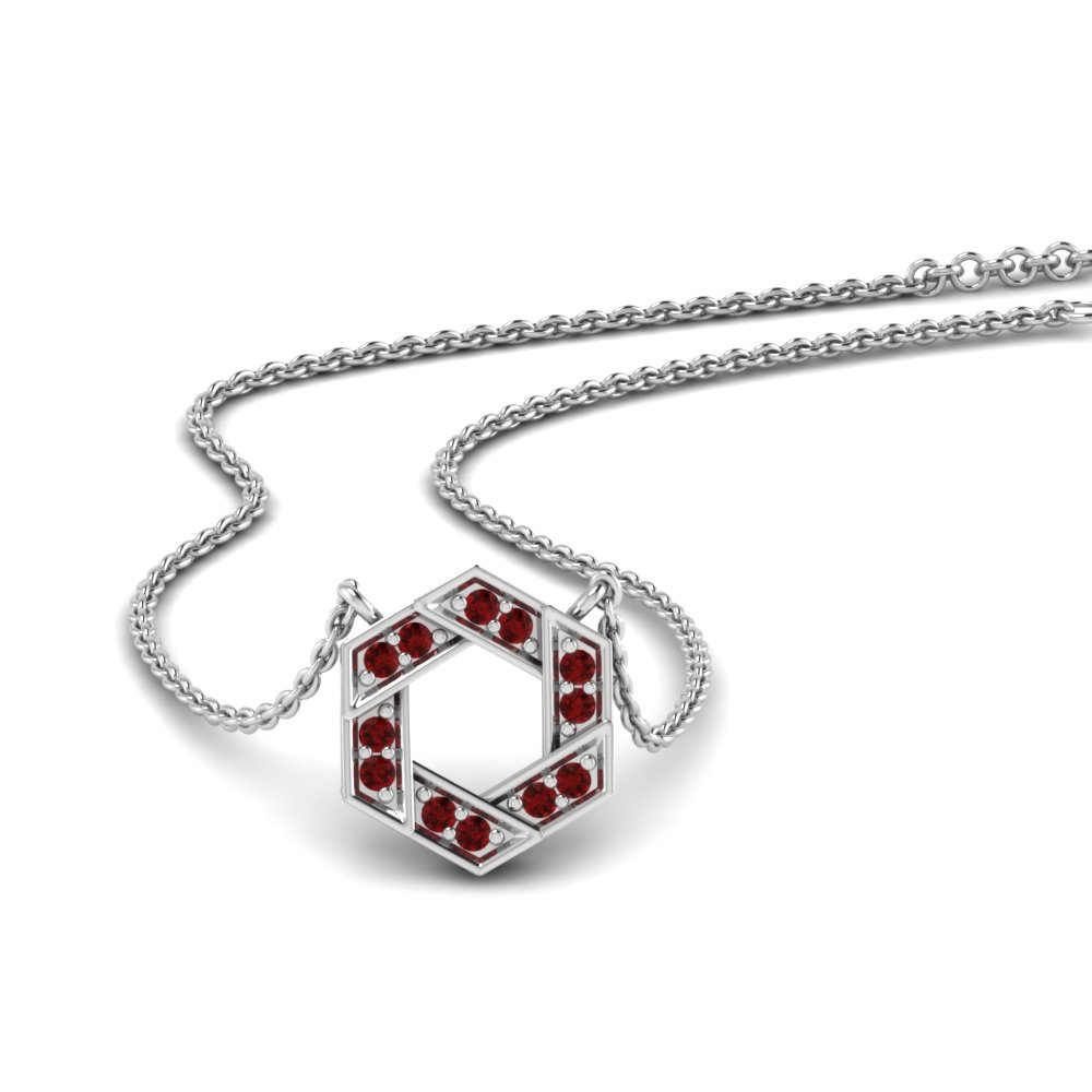 Ruby Pave Hexagon Pendant