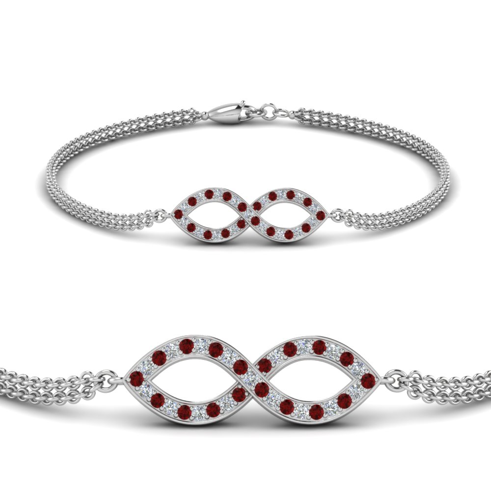 pave infinity diamond bracelet with ruby in FDBRC9140GRUDRANGLE2 NL WG