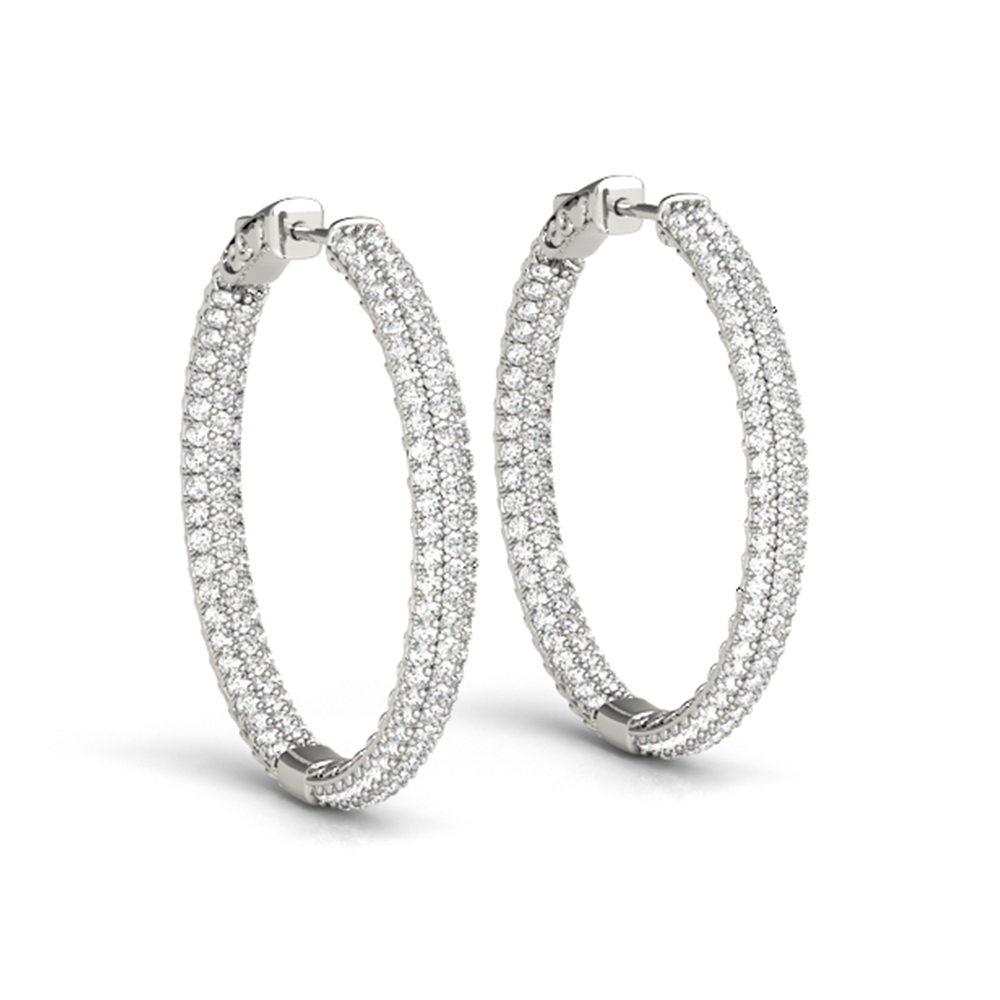 Pave Inside Out Hoop Diamond Earring