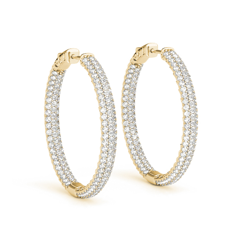 Pave Inside Out Hoop Diamond Earring In 14K Yellow Gold
