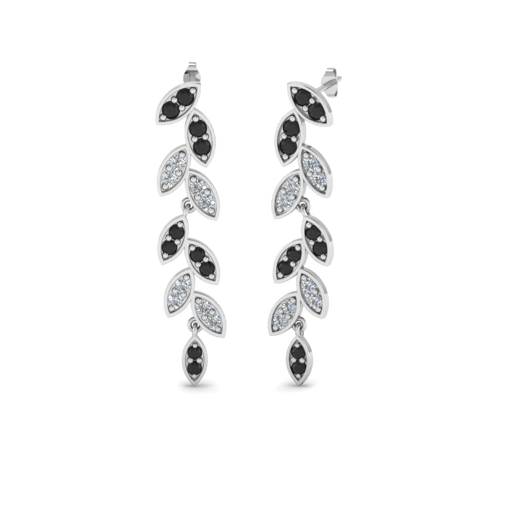 Black Diamond Leaf Drop Earring
