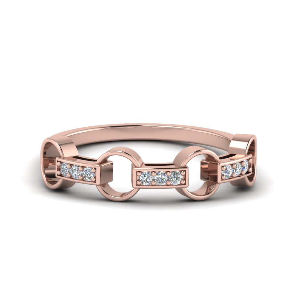 pave linked diamond wedding band in 14K rose gold FD652243 NL RG