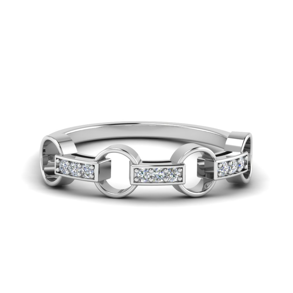 pave linked diamond wedding band in 14K white gold FD652243 NL WG