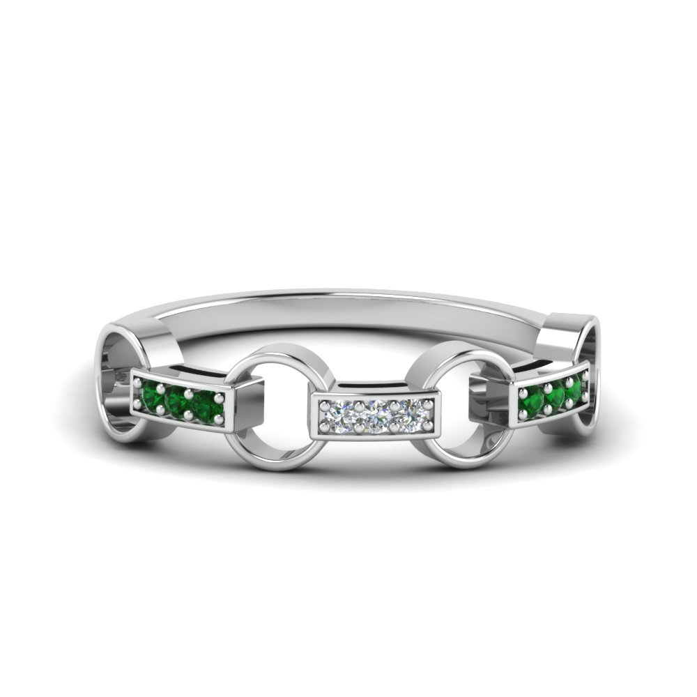pave linked diamond wedding band with emerald in 14K white gold FD652243GEMGR NL WG