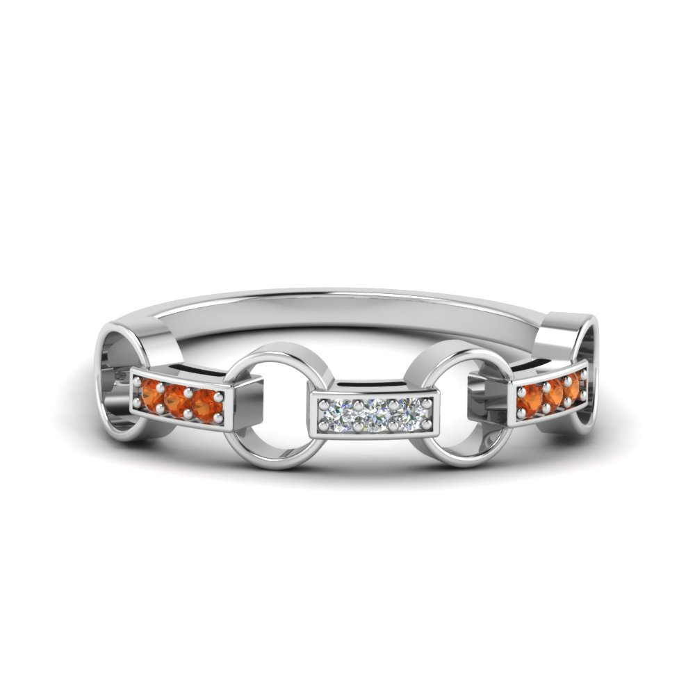 pave linked diamond wedding band with orange sapphire in 14K white gold FD652243GSAOR NL WG