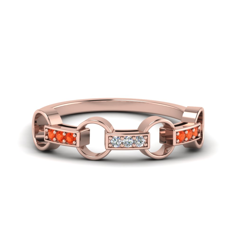pave linked diamond wedding band with orange topaz in FD652243GPOTO NL RG