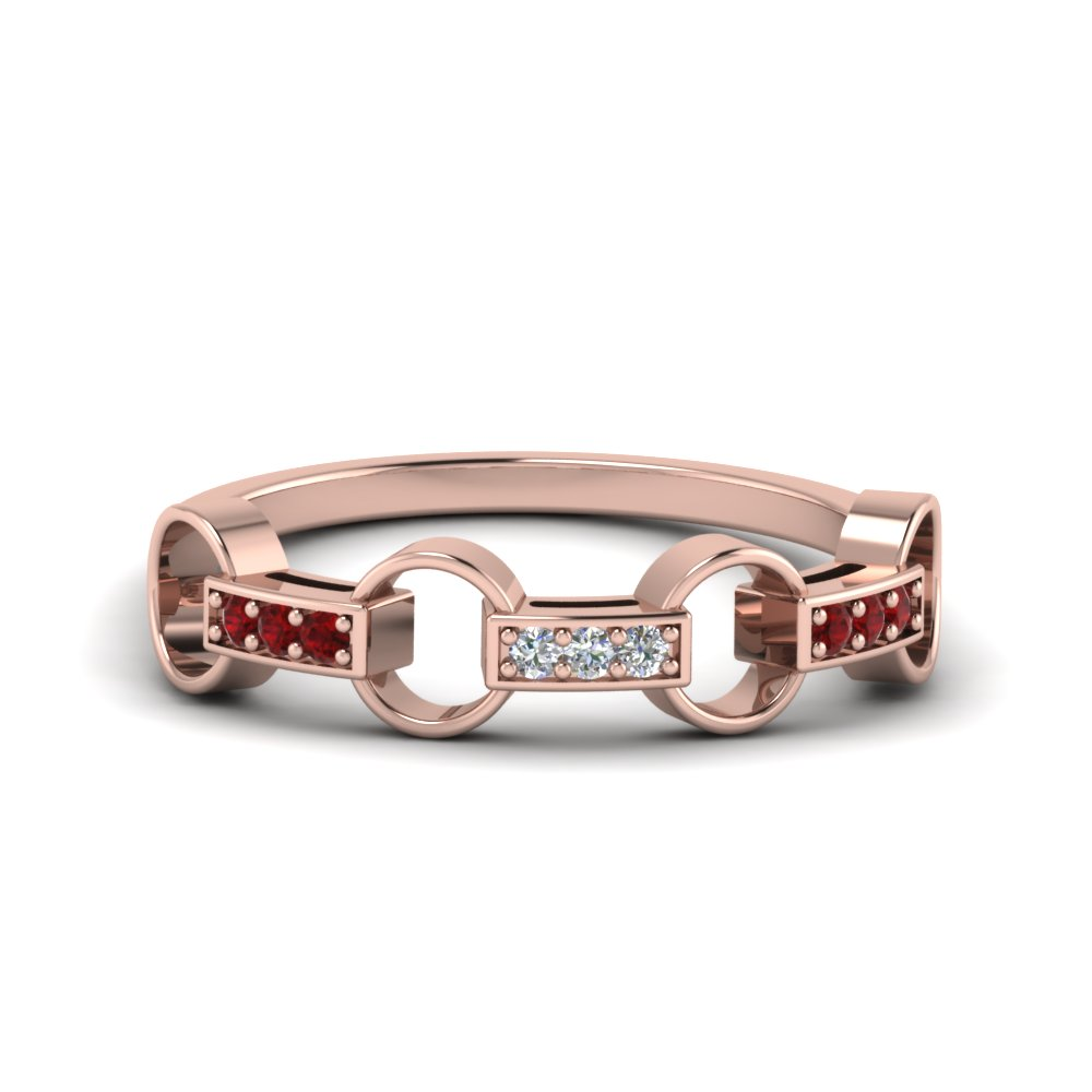 pave linked diamond wedding band with ruby in 18K rose gold FD652243GRUDR NL RG