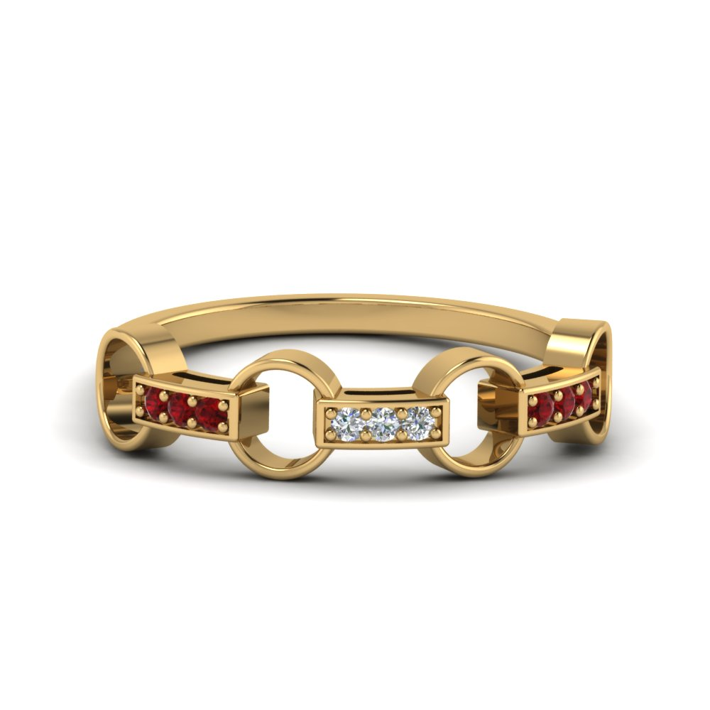 Contemporary Ruby Wedding Band For Ladies